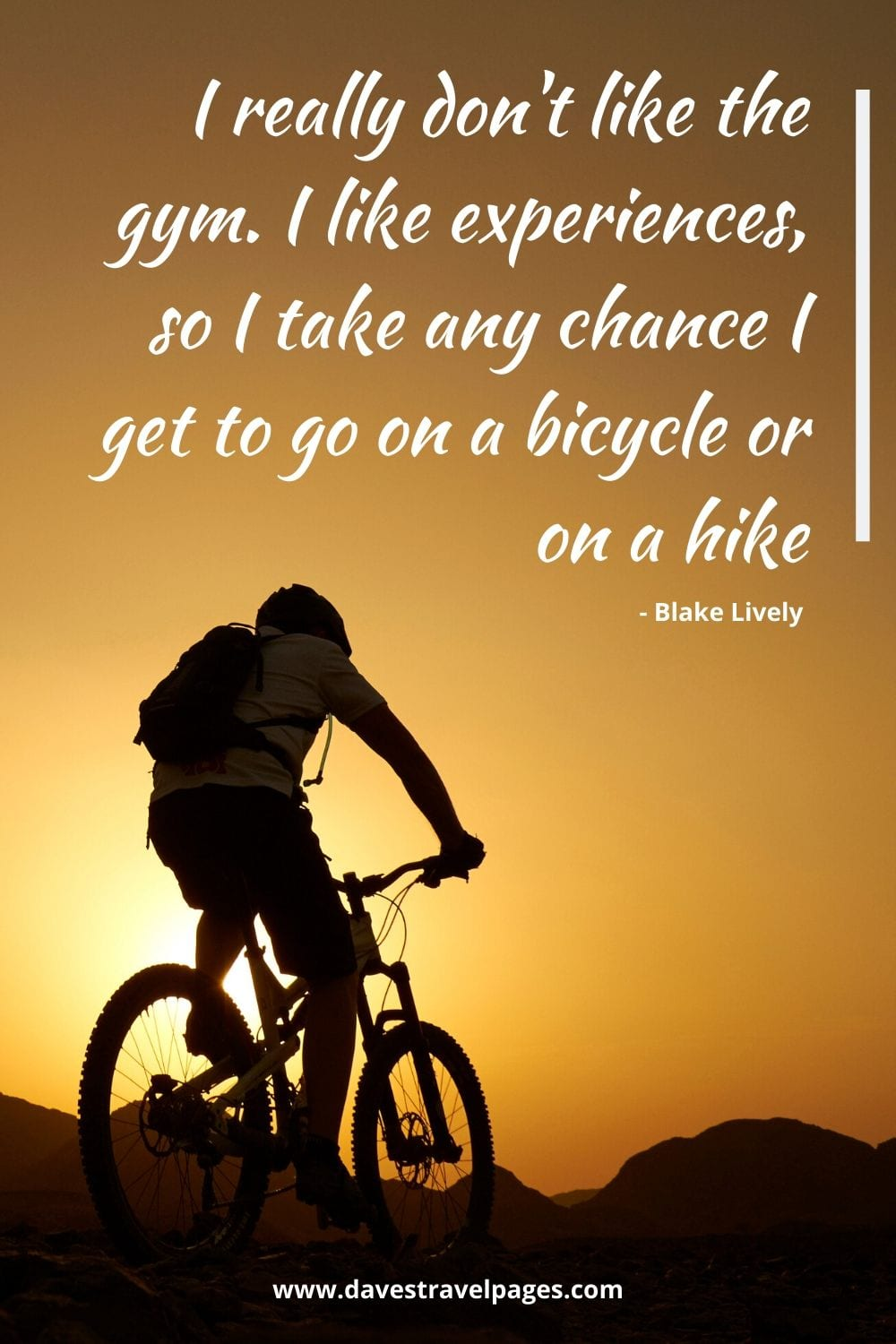 Bicycling Quotes - I really don't like the gym. I like experiences, so I take any chance I get to go on a bicycle or on a hike. Blake Lively