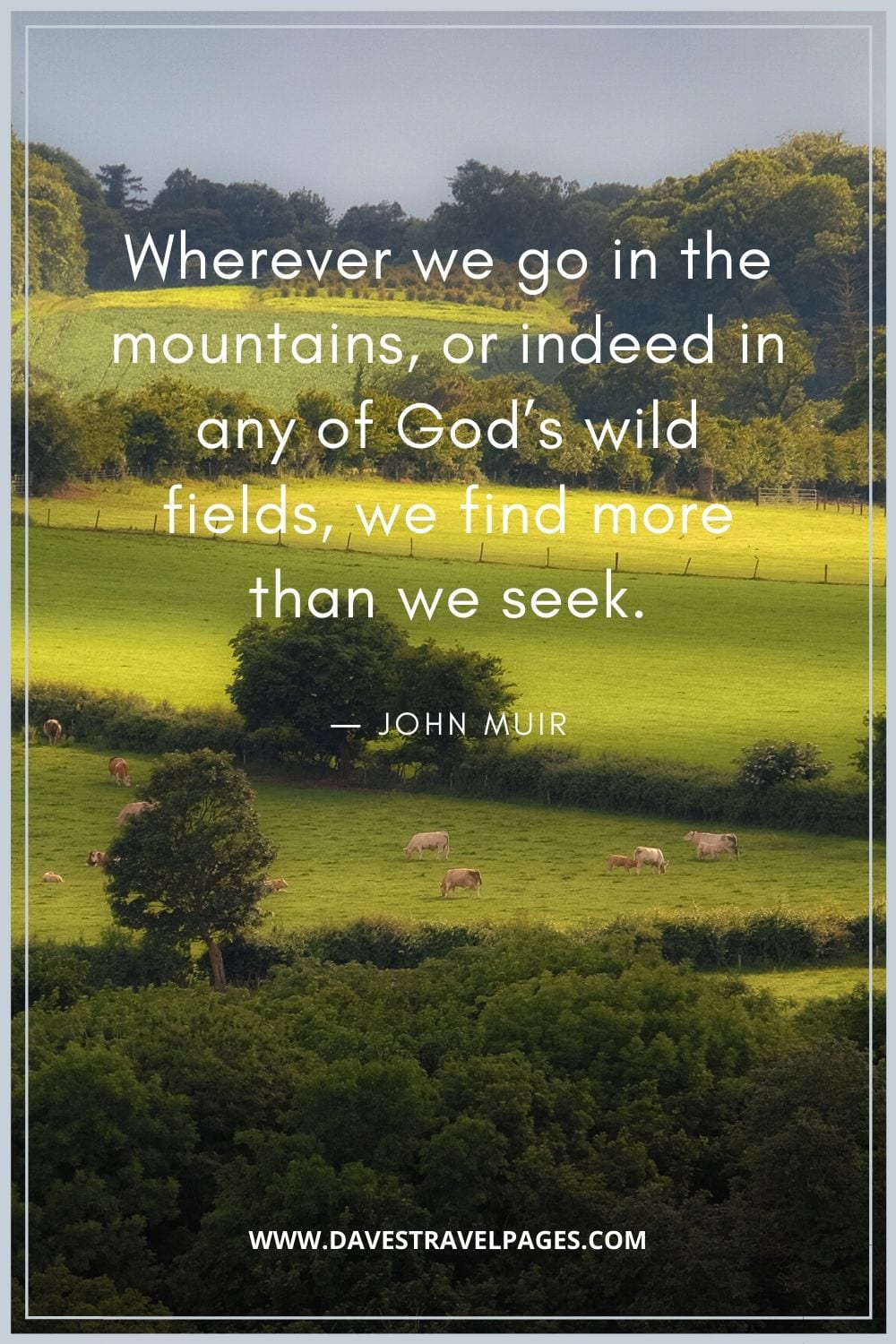 """""""Wherever we go in the mountains, or indeed in any of God's wild fields, we find more than we seek.""""― John Muir"""