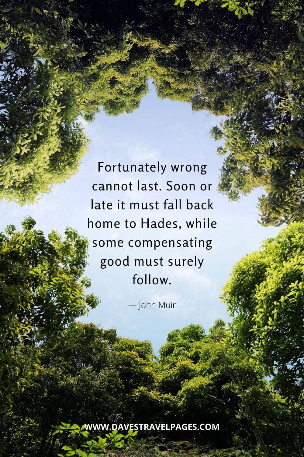 """""""Fortunately wrong cannot last. Soon or late it must fall back home to Hades, while some compensating good must surely follow.""""― John Muir"""