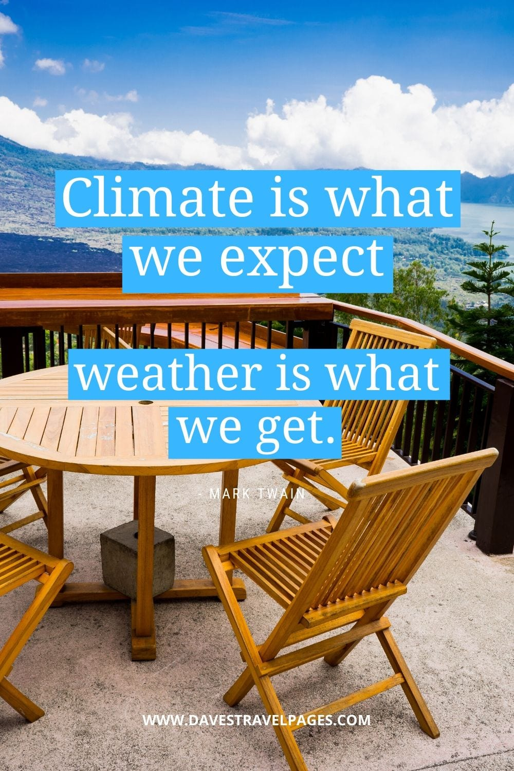 Quotes by Mark Twain: Climate is what we expect, weather is what we get.