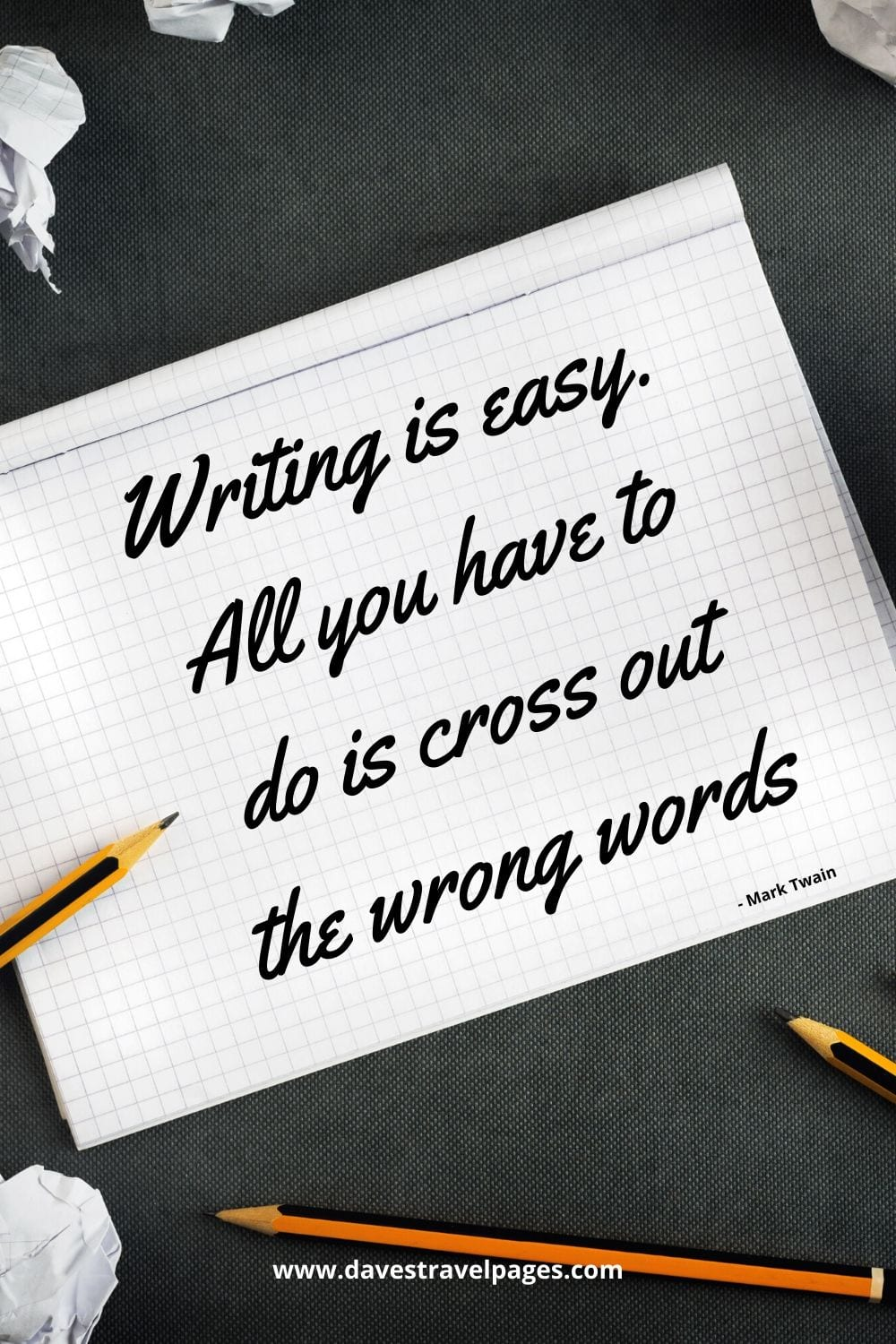 "Mark Twain quote about writing: ""Writing is easy. All you have to do is cross out the wrong words."""
