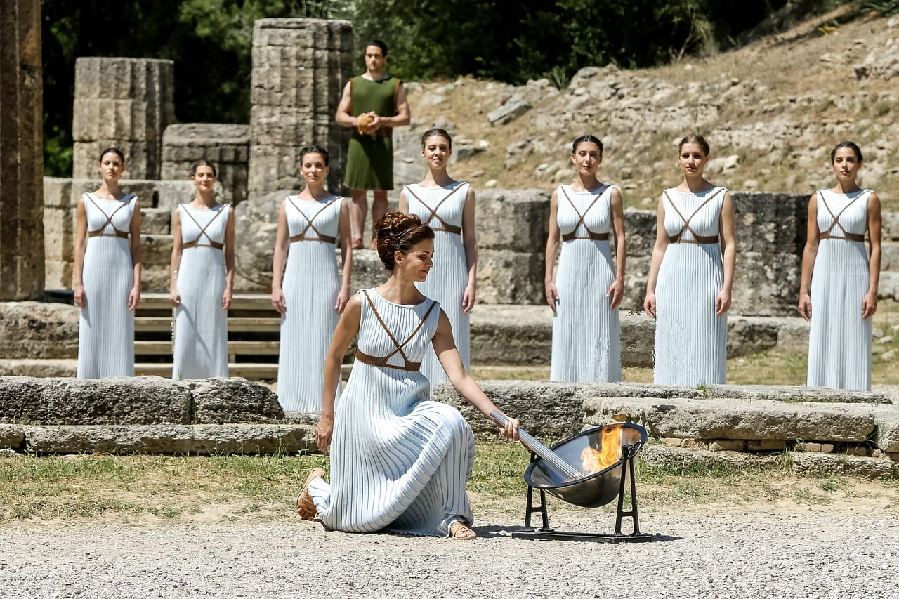 Olympic Flame Lighting Ceremony in Olympia