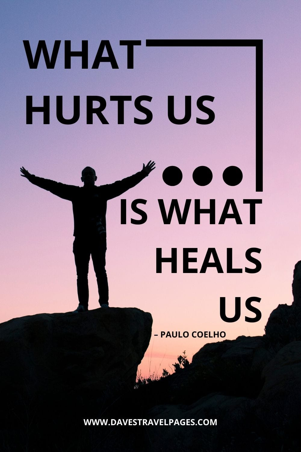 "Quote about overcoming pain: ""What hurts us is what heals us."" – Paulo Coelho"