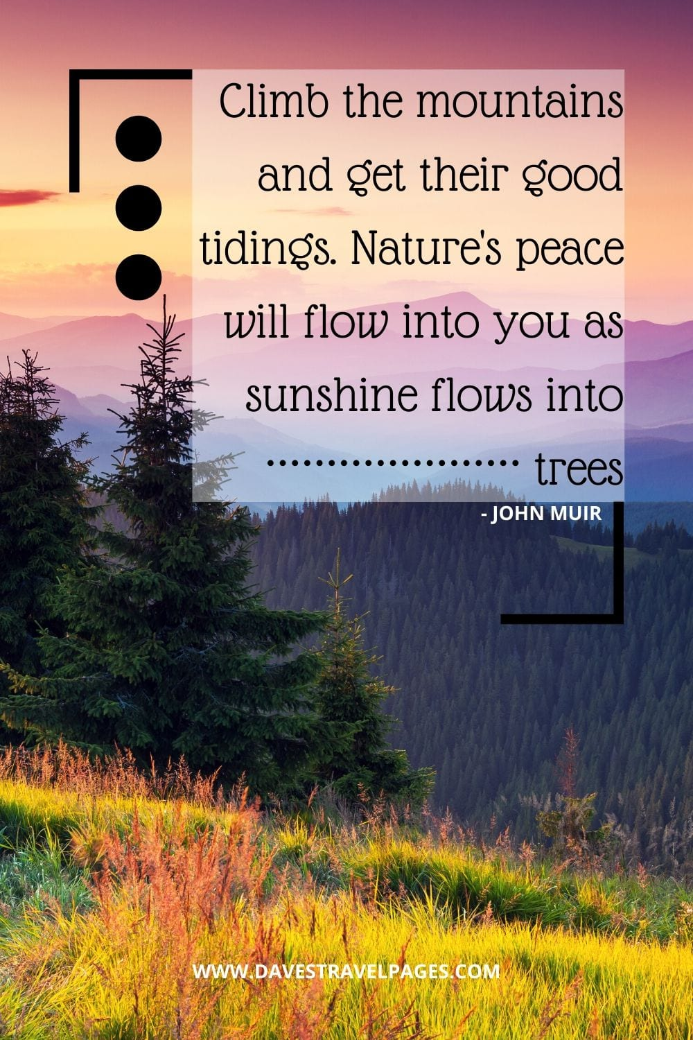 Nature Quotes: Climb the mountains and get their good tidings. Nature's peace will flow into you as sunshine flows into trees - John Muir