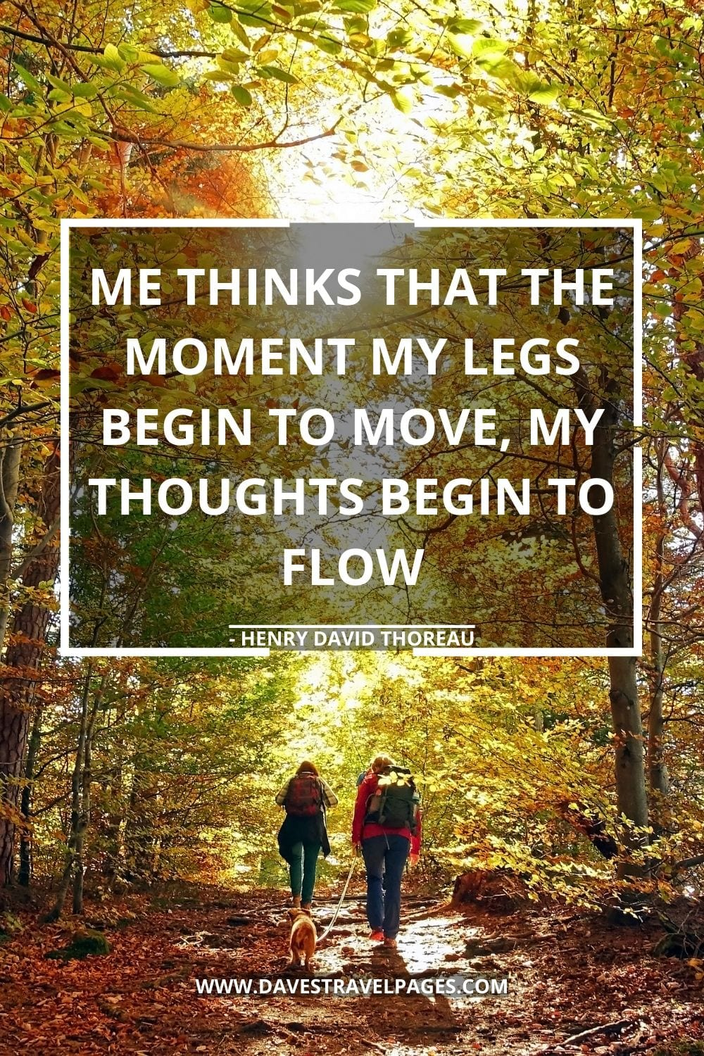 Inspirational and Motivational Quotes: Me thinks that the moment my legs begin to move, my thoughts begin to flow - Henry David Thoreau