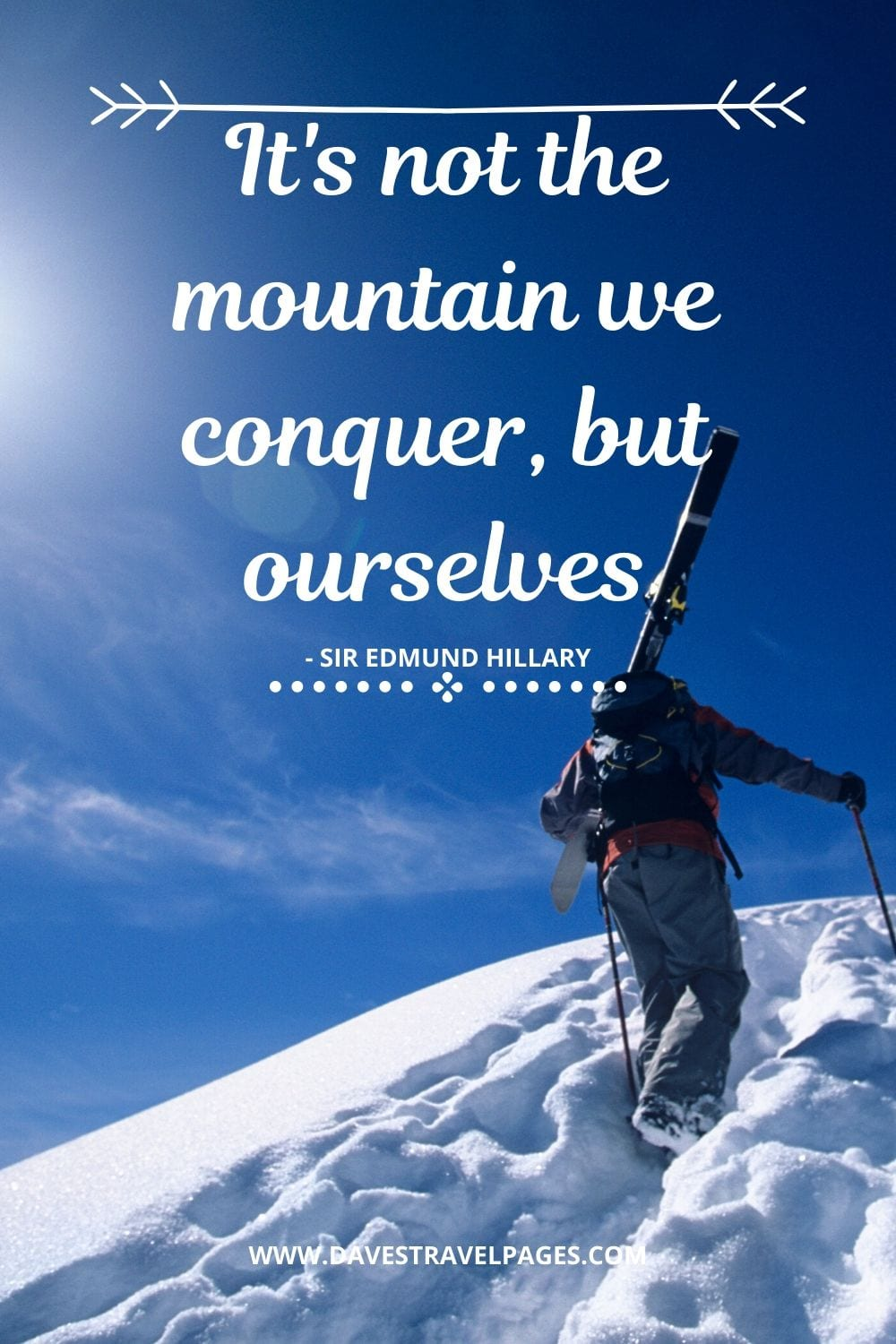 It's not the mountain we conquer, but ourselves - Sir Edmund Hillary Quotes