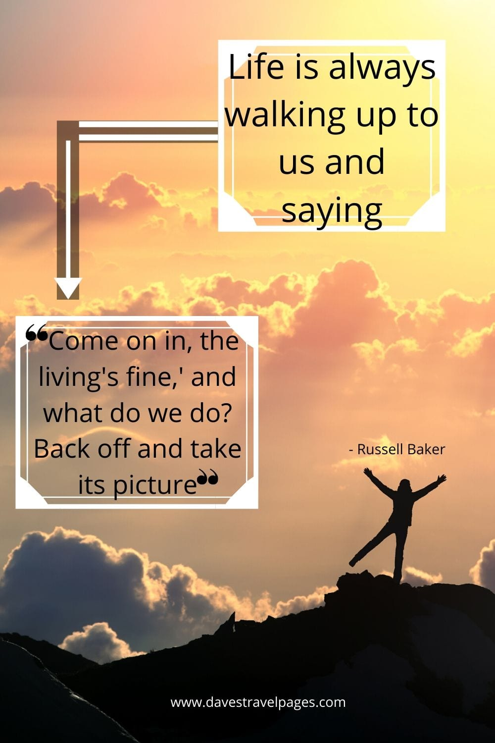 Quotes about life: Life is always walking up to us and saying. 'Come on in, the living's fine,' and what do we do? Back off and take its picture. - Russell Baker
