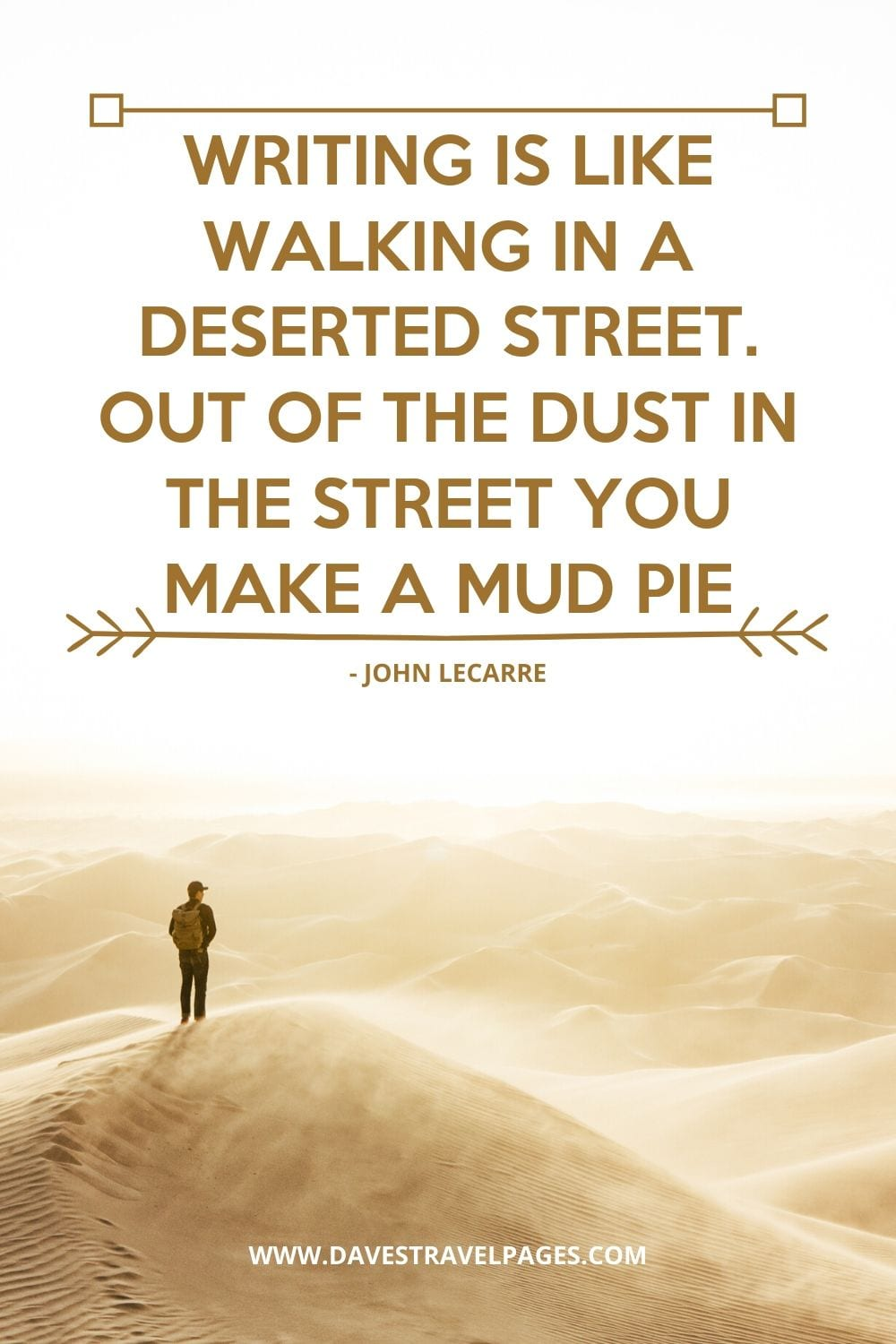 Inspirational Quotes - Writing is like walking in a deserted street. Out of the dust in the street you make a mud pie - John LeCarre