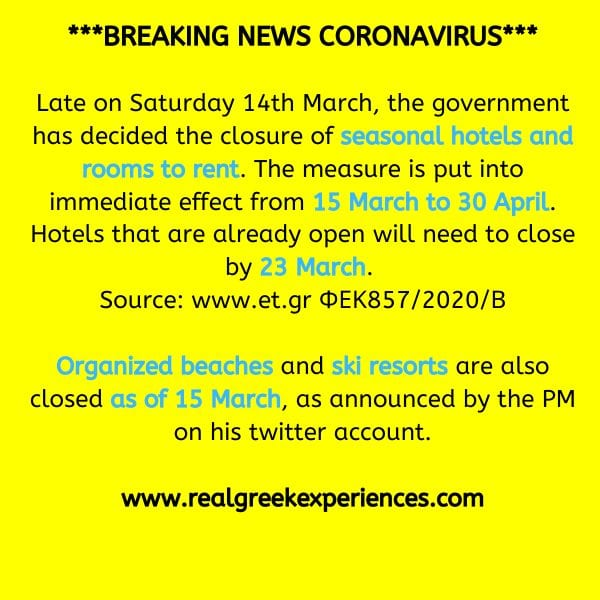 Hotels closing in Greece because of coronavirus