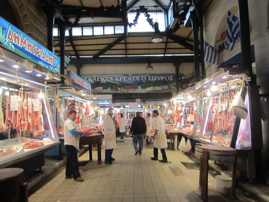 Inside the central food market of Athens