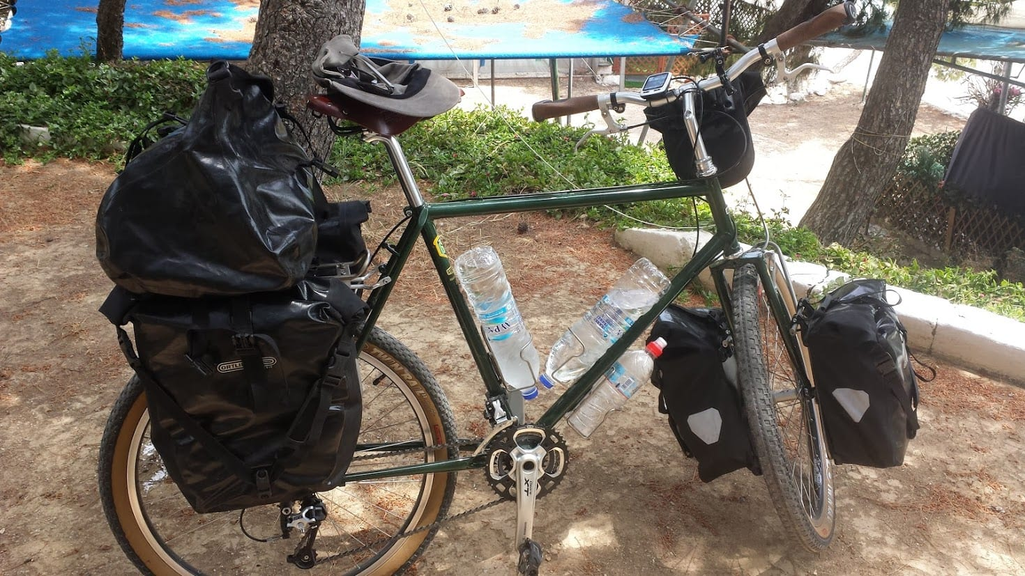 Fully loaded touring bicycle