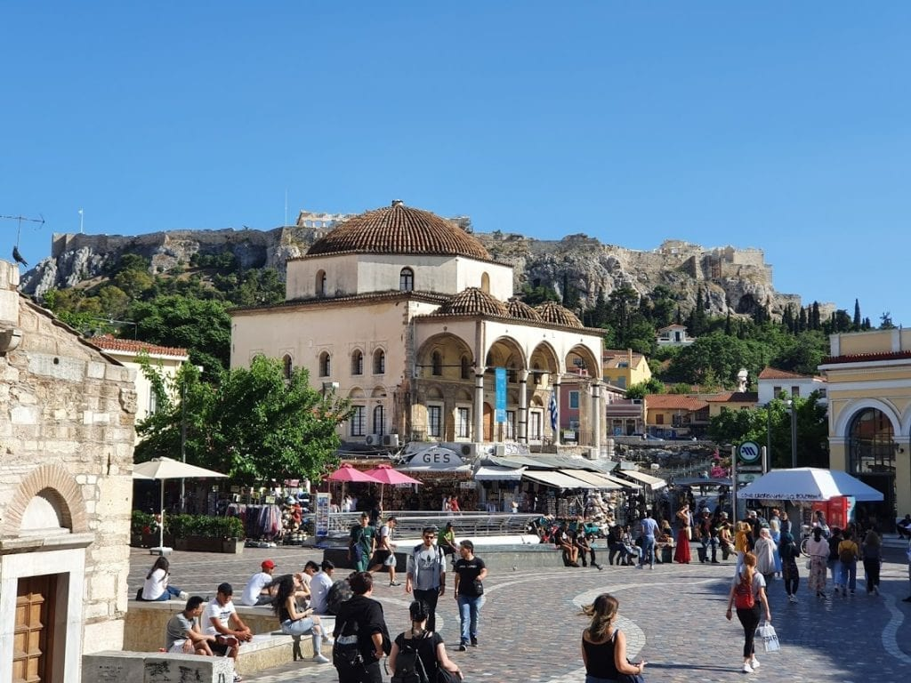 A look at Monastiraki Square in Athens Greece - Acropolis in background