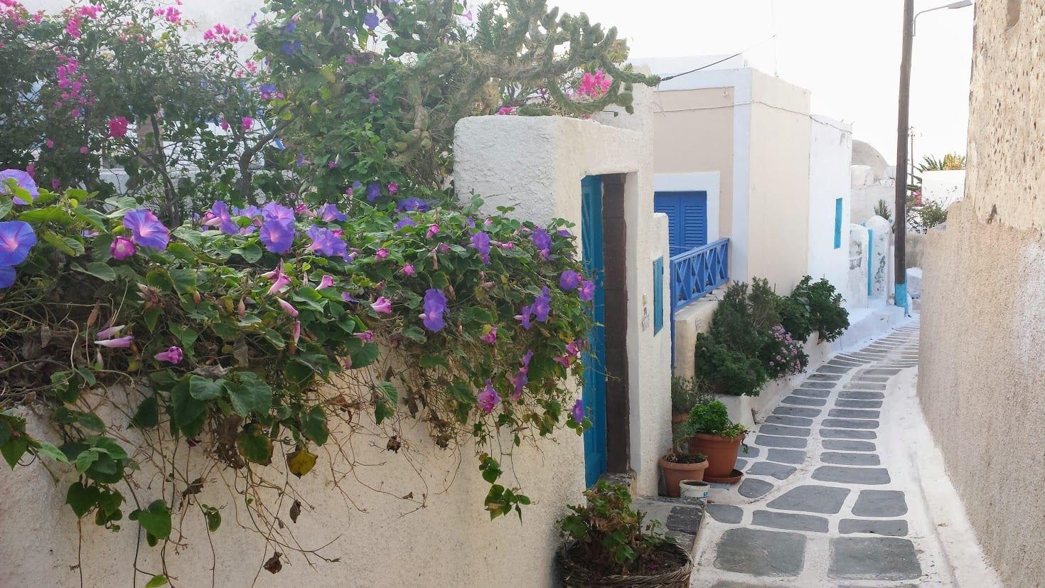 Village in Santorini in october