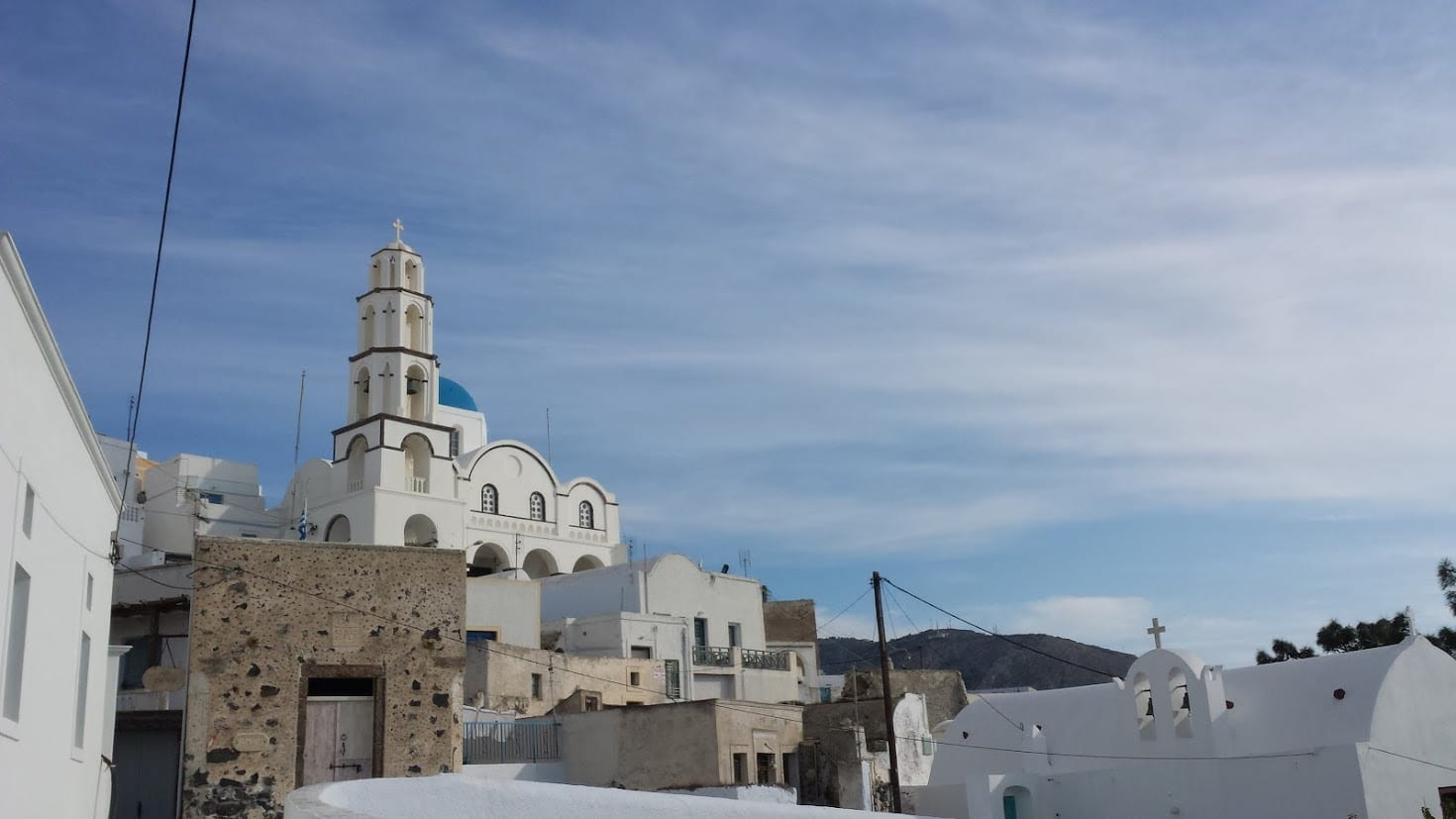 Pyrgos village in Santorini Greece