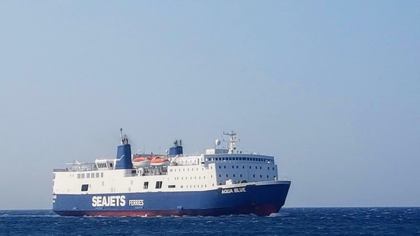 A Greek ferry sailing in September