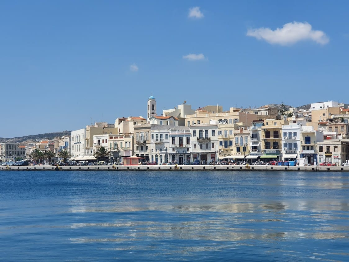 A view of the waterfront of Ermoupolis in Syros