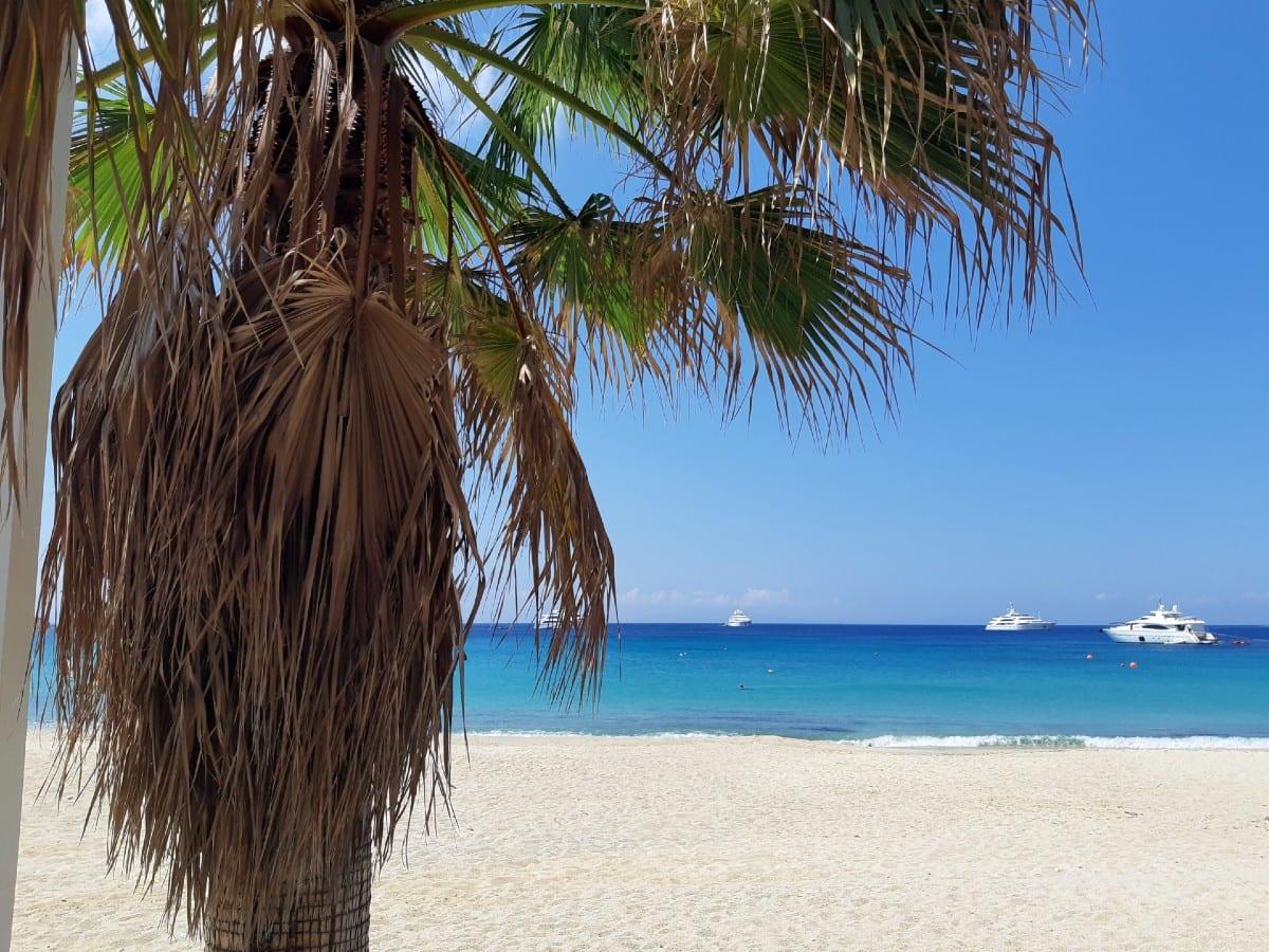 A view of Platis Gialos beach in Mykonos