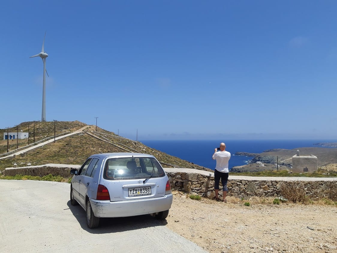 Our car to get around mykonos in greece