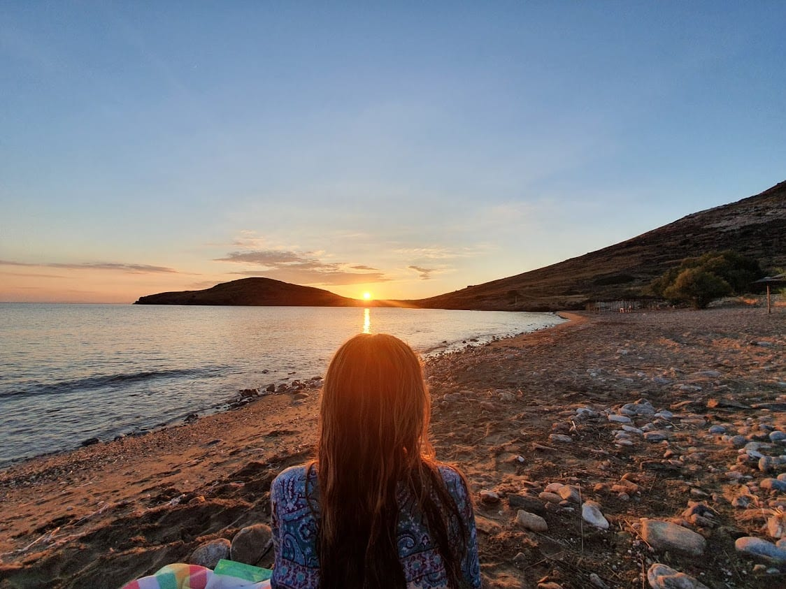 Sunset at Delfini beach in Syros