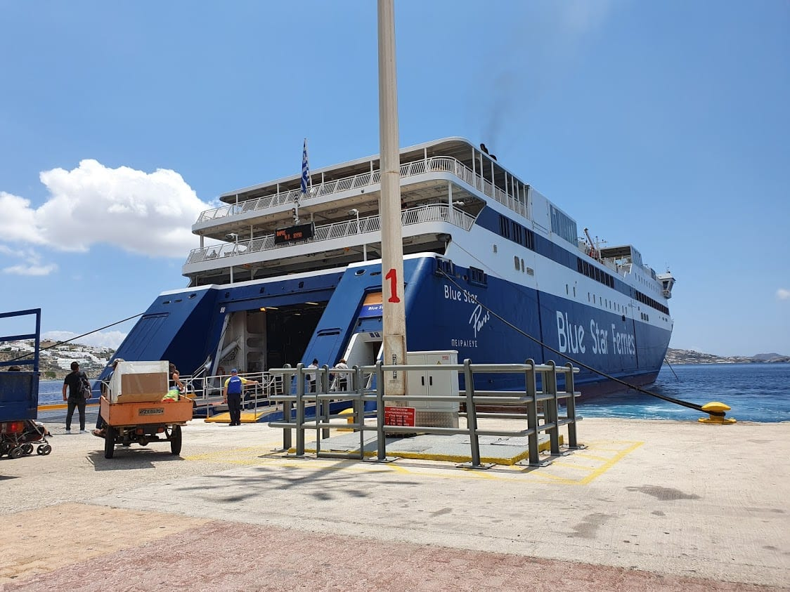 Taking the ferry from Mykonos to Syros