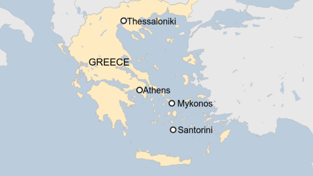 A map of Greece and the Greek islands