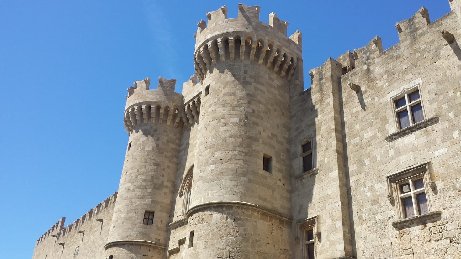 Rhodes castle is one of the most well known landmarks of Greece