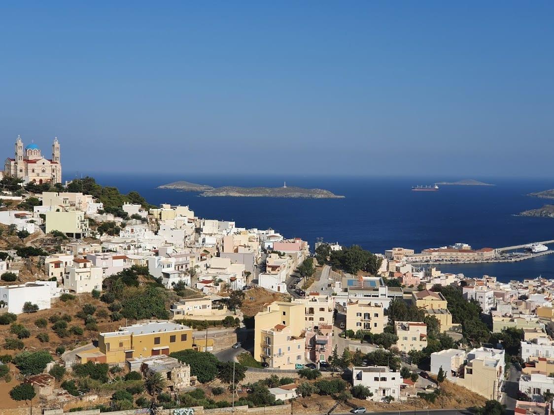 Views over Ermoupoli on the Cycladic island of Syros