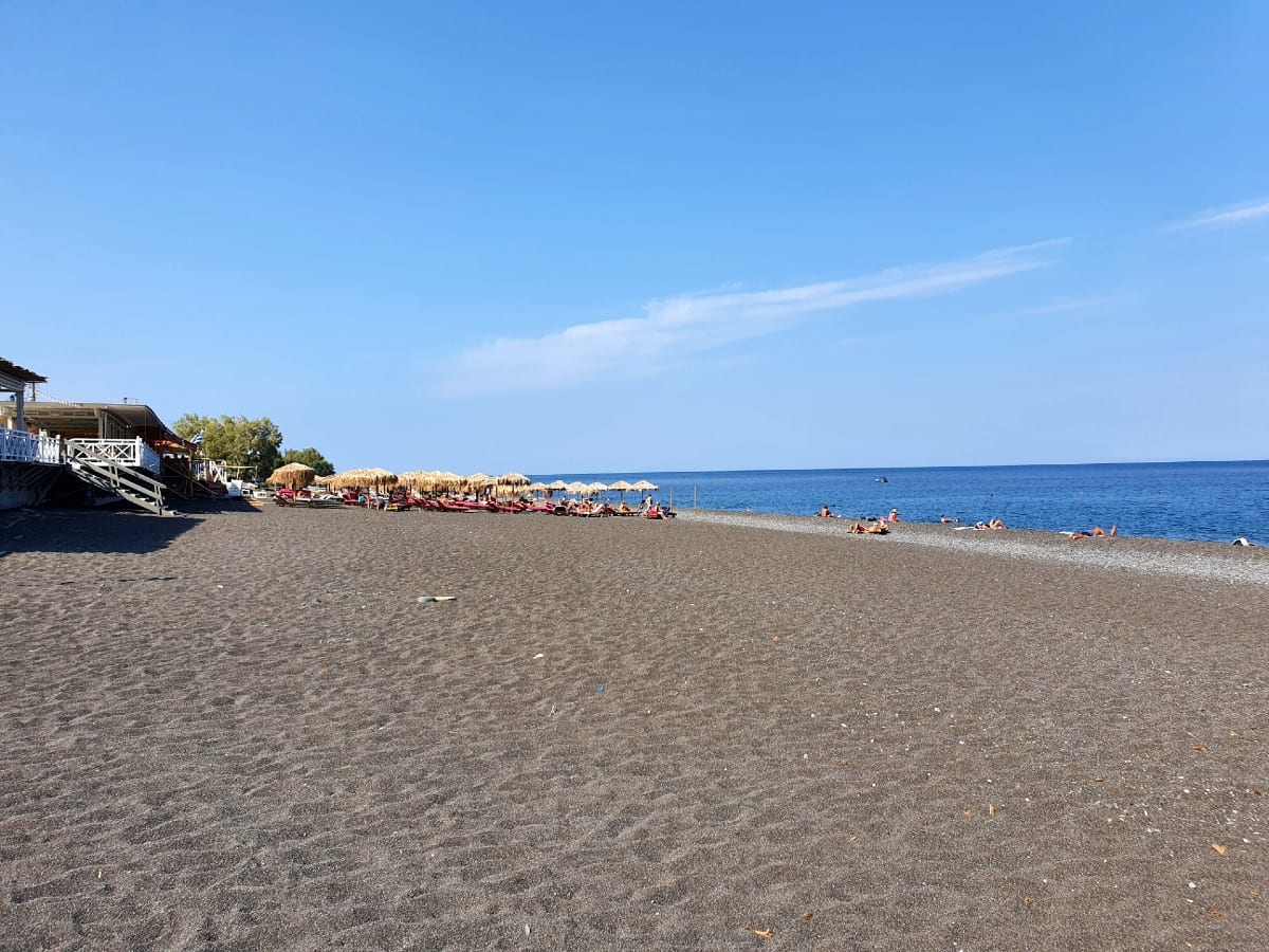 A look at the beach in Kamari, Santorini