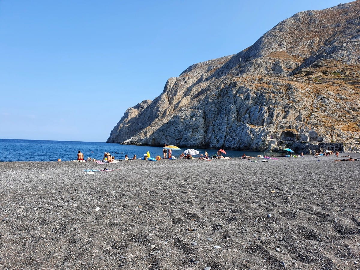 Kamari Beach in Santorini