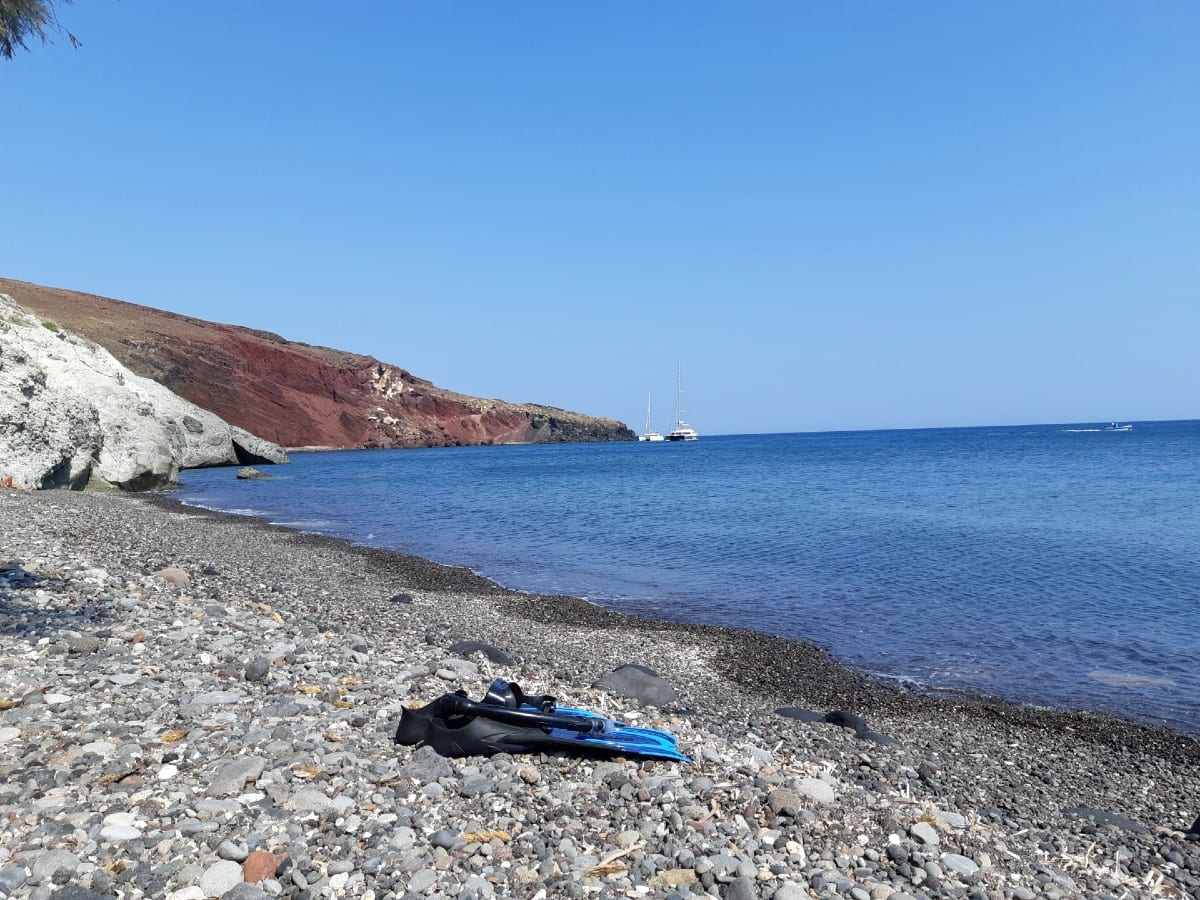Many of the Santorini beaches are pebbly like Kambia beach