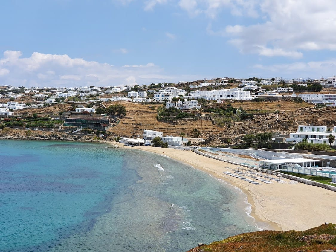 The closest beach to Mykonos town