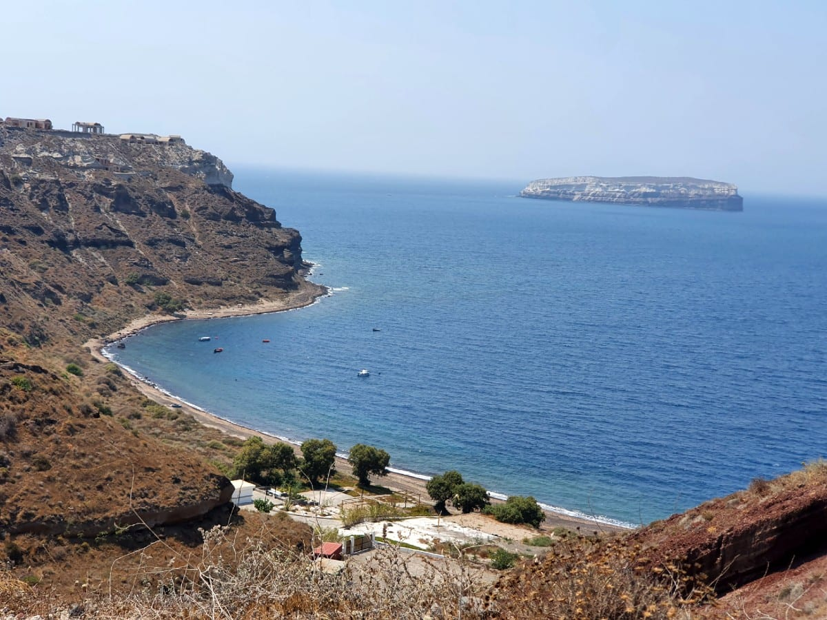 Looking at one of the beaches in Santorini from a distance