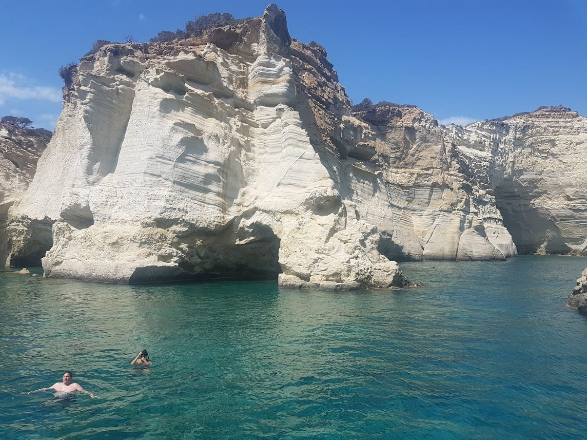 Relaxing at the Kleftiko Pirate's Cove in Milos Island, Greece