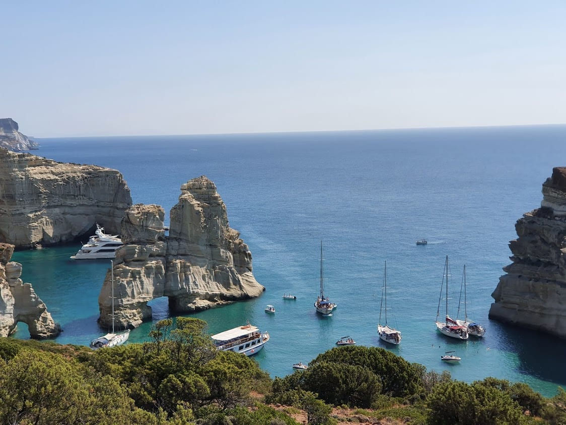 Looking down onto the bay from the hiking trail at Kleftiko in MIlos