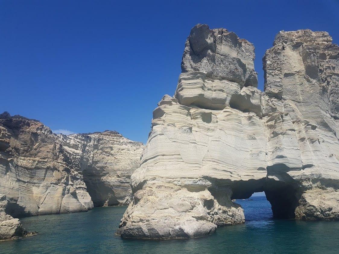 The unique rock formations of Kleftiko Bay in Milos
