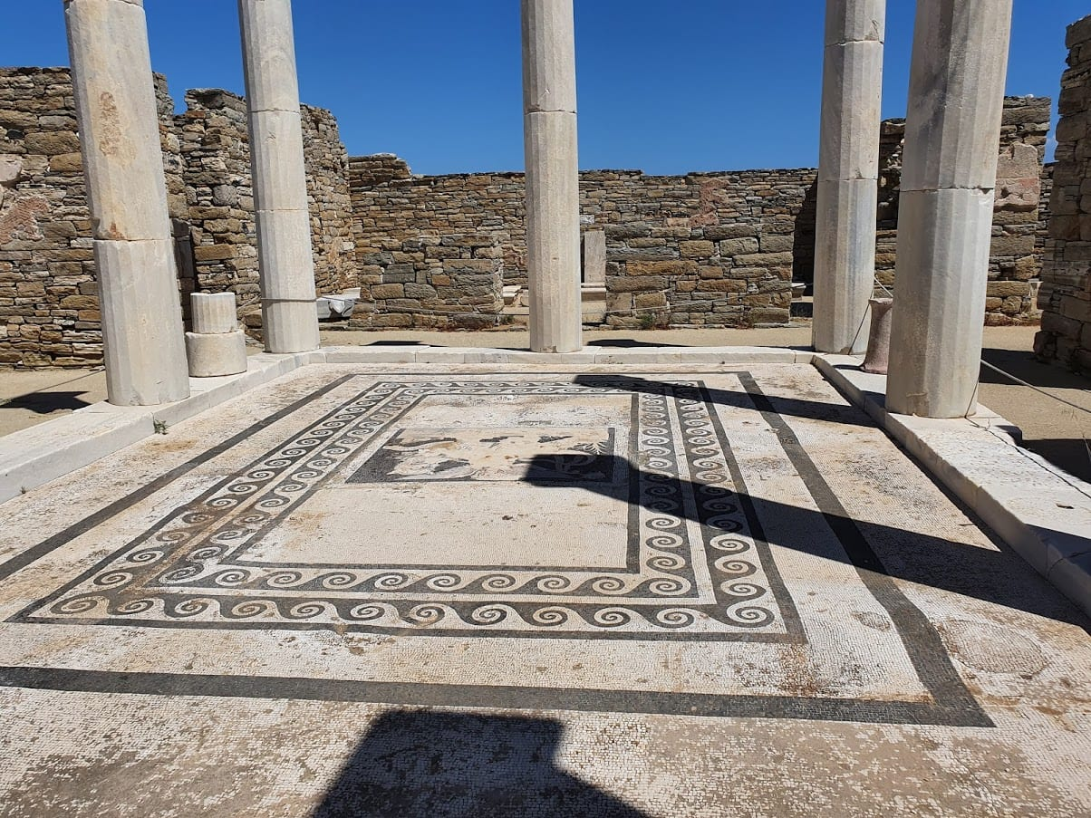 mosaic at delos in greece