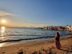 Enjoying the sunset in Mykonos at Little Venice