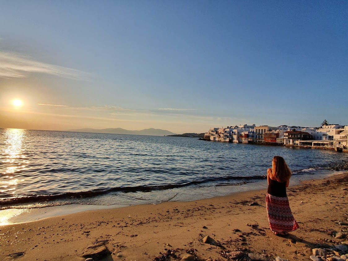 Enjoying the sunset in Mykonos at Little Venice