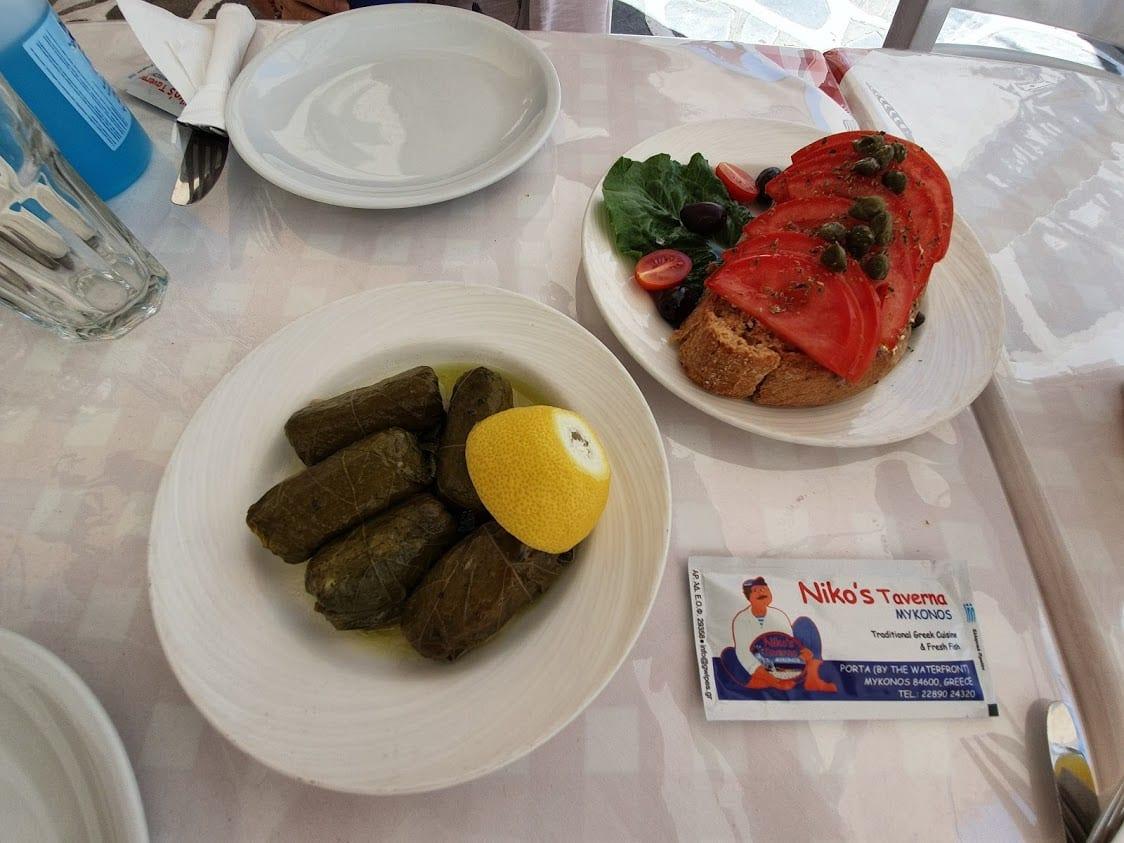 Eating at Nikos taverna in Mykonos