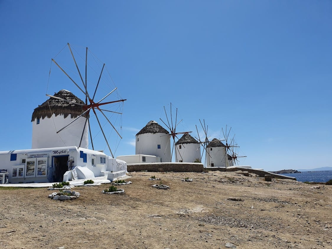 Visiting the windmills of Mykonos on a walking tour