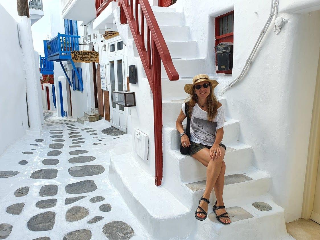 Walking through Mykonos town