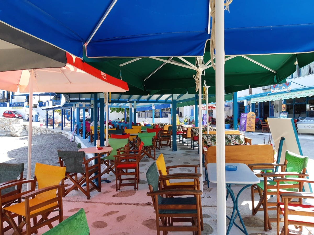 A cafe at Apollonas in Naxos Greece