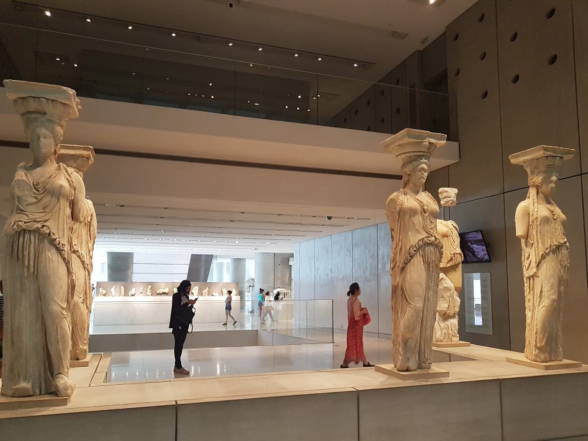 Caryatids on display inside the Acropolis museum in Athens Greece
