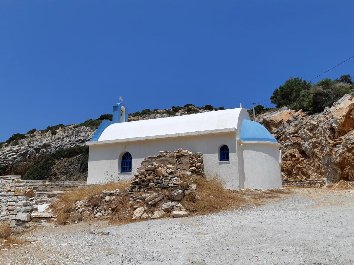 Agios Mamas church at Kampos Beach in Naxos island