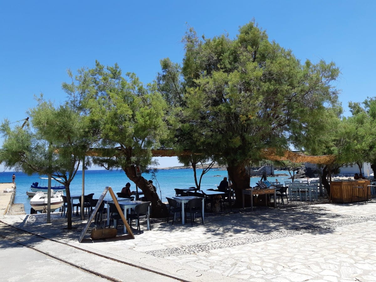 A shaded taverna at Moutsouna in Naxos Island Greece