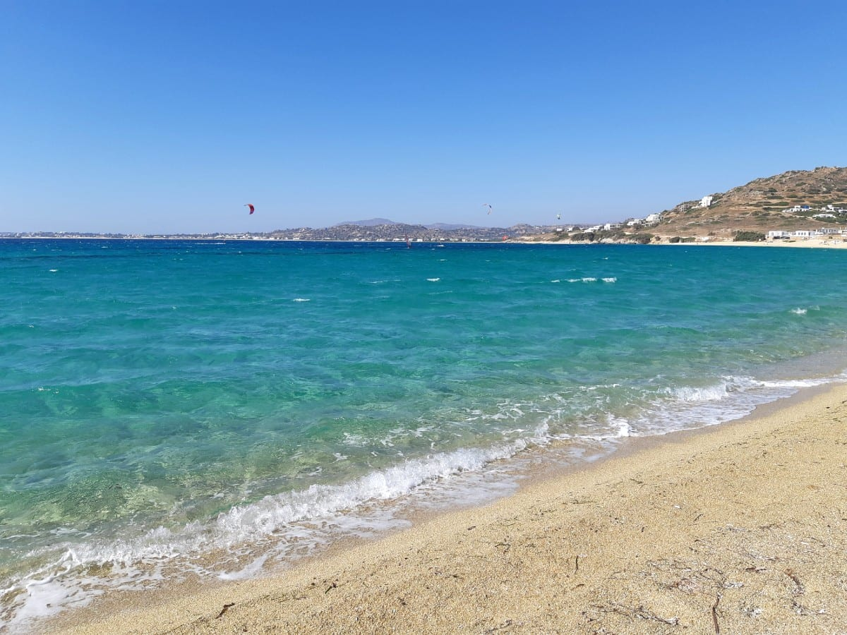 Orkos beach is nice for a swim in Naxos