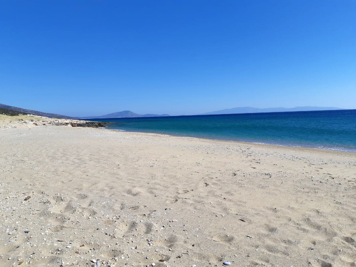 The sandy beach of Pyrgaki in the Greek island of Naxos