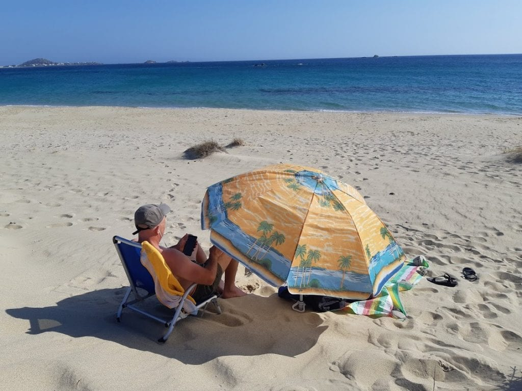 Dave on the beach in Naxos Greece