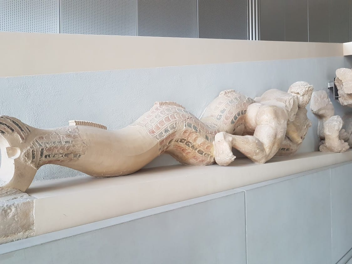 One of the interesting facts about ancient Greece is that the statues were not white, but painted as we can see here from this statue in the Acropolis Museum of Athens, Greece.