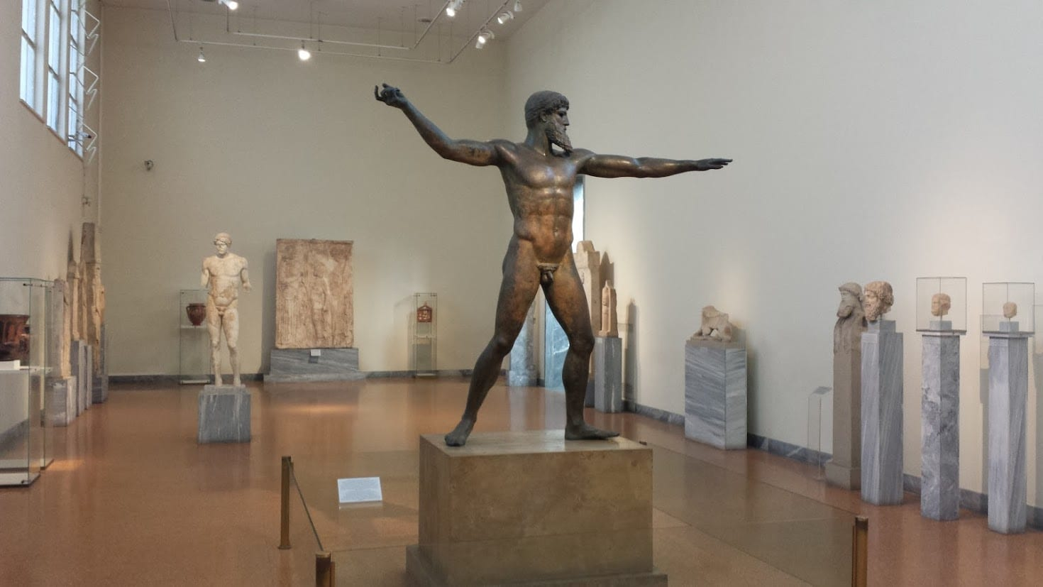 This ancient Greek bronze statue could be either Zeus of Poseidon